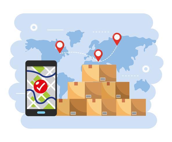 Pila di scatole con smartphone con localizzazione vettore
