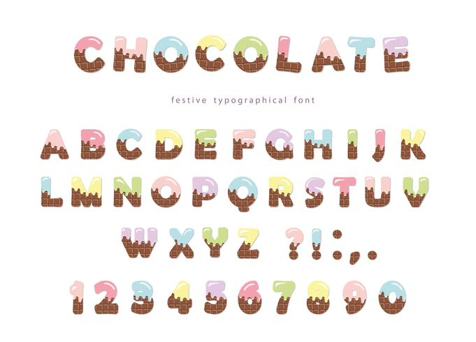 Carattere festivo wafer al cioccolato vettore