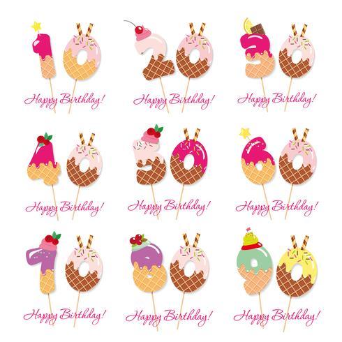 Set anniversario di compleanno. Numeri dolci festivi da 10 a 90. vettore