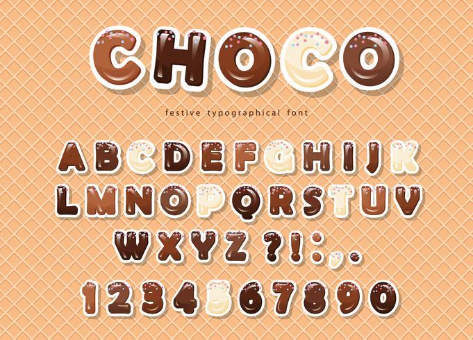 Carta ritagliata lettere e numeri ABC, fatta di diversi tipi di cioccolato sullo sfondo del wafer. vettore