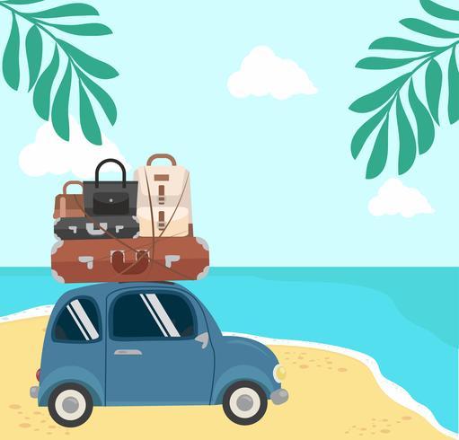 viaggiando in mini auto su Summer Beach vettore