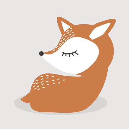 Cartone animato di cervo carino seduto vettore