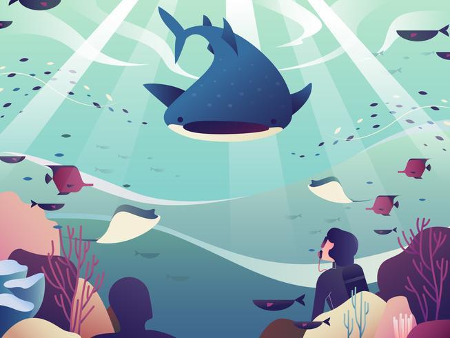 Illustrazione di immersioni subacquee vettore