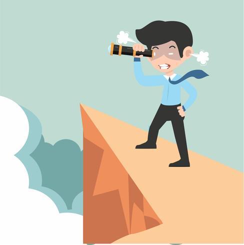 uomo d'affari arrabbiato con un telescopio sulla montagna vettore