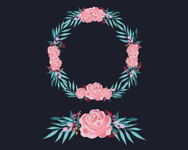 Corona floreale rosa e blu vettore