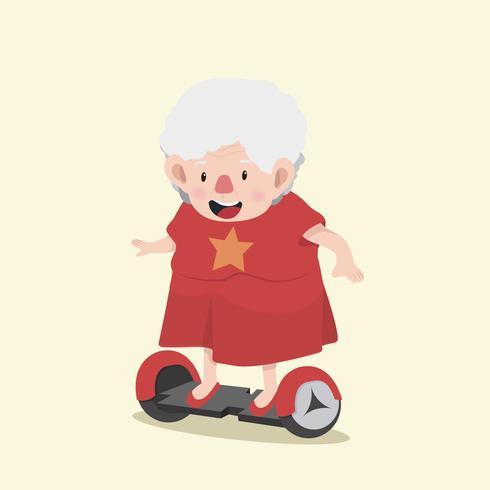 Donna anziana felice con scooter elettrico vettore