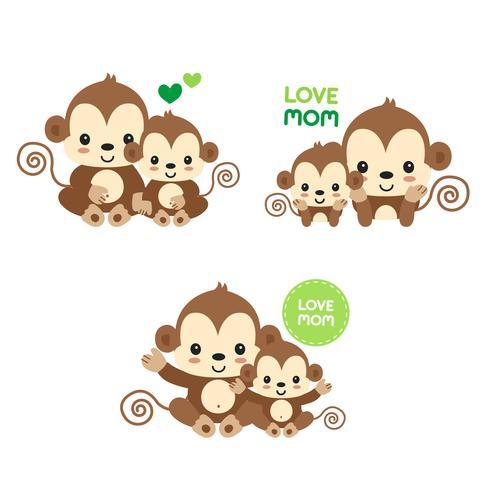 Scimmia mamma e bambino. vettore
