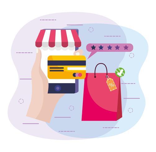 Passi lo smartphone della tenuta con la carta di credito e il sacchetto della spesa vettore