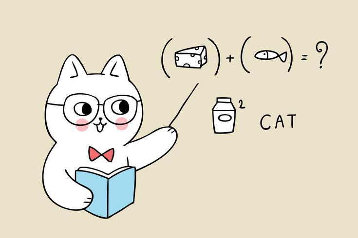 Puntatore della tenuta del gatto dell'insegnante all'equazione vettore