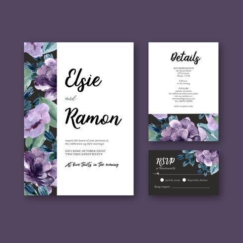 Invito a nozze floreale viola e collezione di carte RSVP vettore