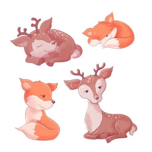 Set di simpatici cartoni animati volpe e cervi vettore