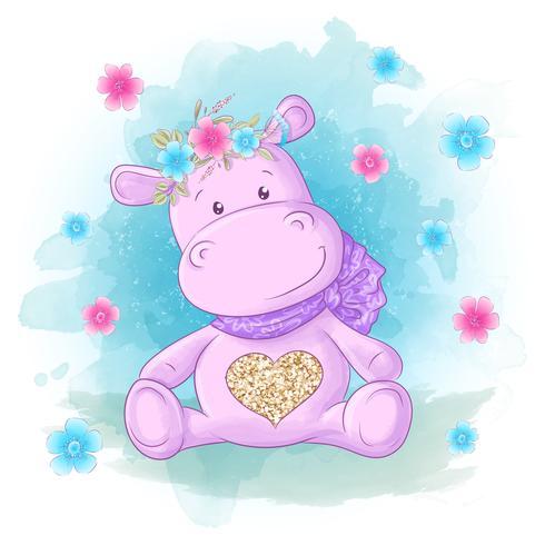 Ippopotamo con fiori e farfalle Stile cartoon. vettore