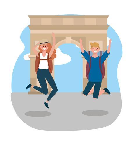 Turisti maschii e femminili che saltano davanti all'arco di trionfo vettore