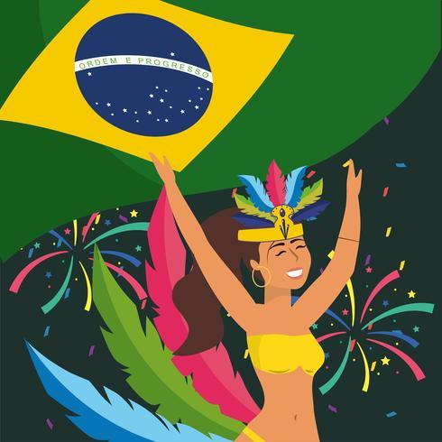 Ballerina di carnevale femminile in costume con bandiera brasiliana vettore