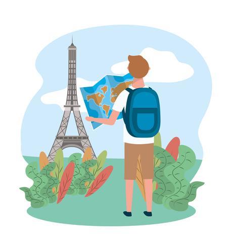 Turista maschio che esamina mappa davanti alla torre Eiffel vettore