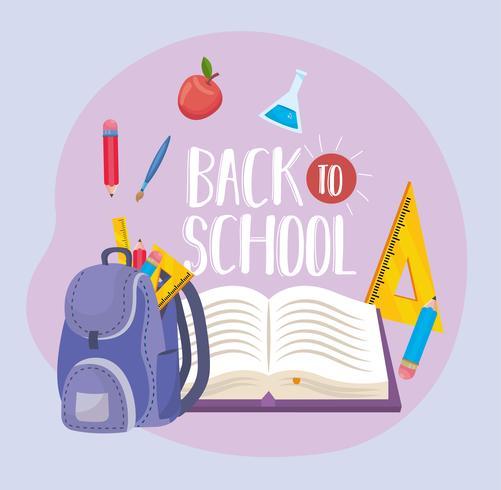 Messaggio di ritorno a scuola con zaino e libro vettore