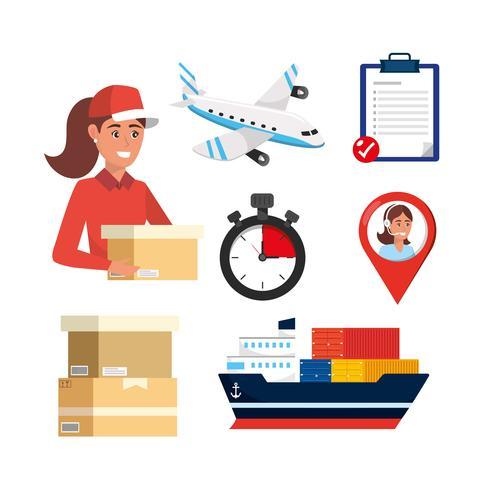Insieme di elementi di consegna e distribuzione del pacchetto vettore