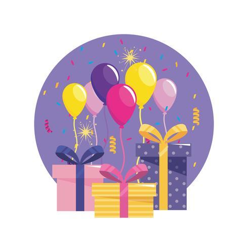 Confezioni regalo e regali con palloncini e coriandoli vettore