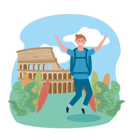 Turista maschio che salta davanti al Colosseo vettore