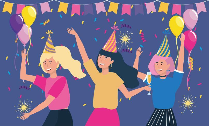 Giovani donne che ballano alla festa con palloncini vettore