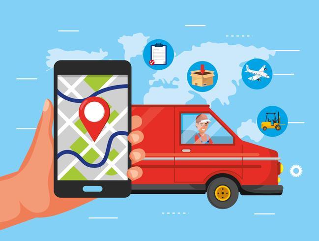 Mano con smartphone gps e camion di consegna vettore