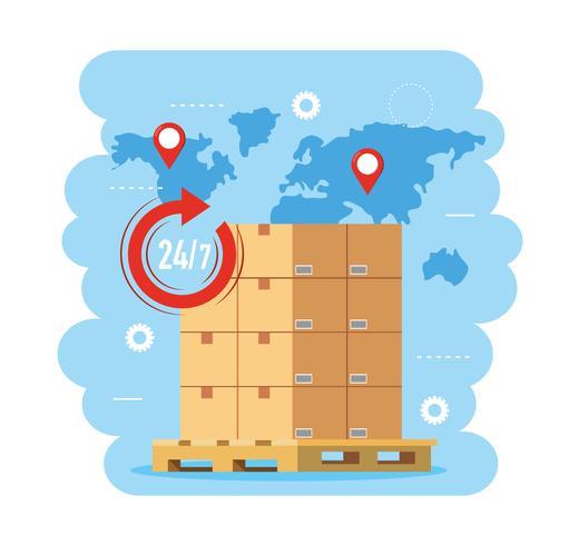 Pila di scatole di consegna su pallet con mappa del mondo vettore