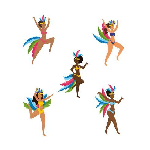 Set di ballerini di carnevale femminile in costume vettore