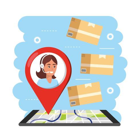 Agente del servizio clienti con indicatore di posizione sulla mappa con i pacchetti vettore