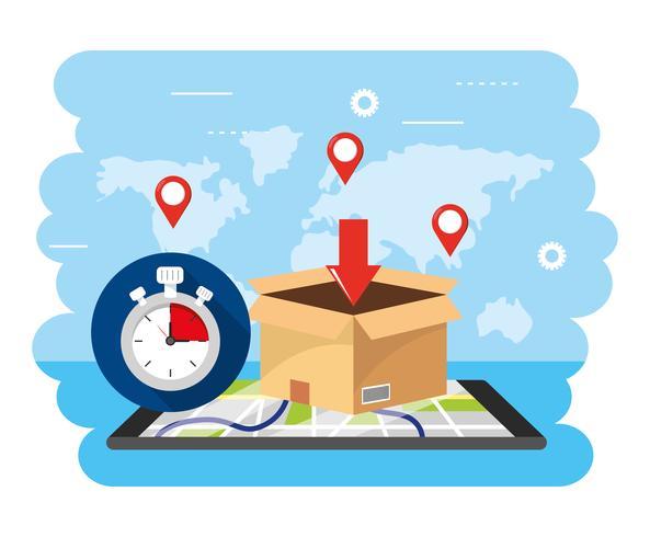 Scatola di consegna con cronometro e mappa vettore