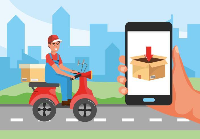 Uomo di consegna su scooter e smartphone con display a scatola vettore