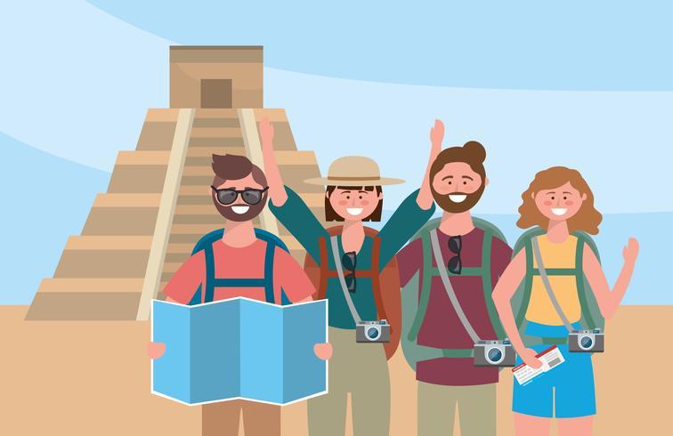 Gruppo di uomini e donne turisti davanti al tempio dell'iscrizione vettore