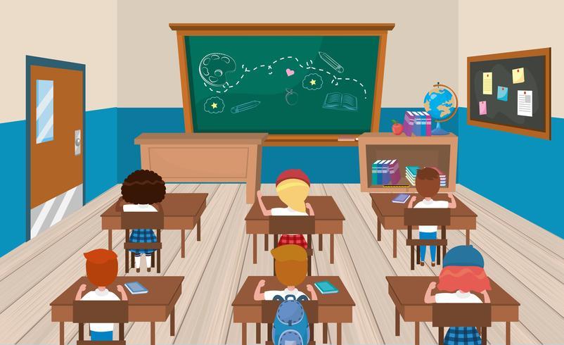 Studenti alle scrivanie in aula vettore