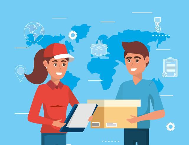 Consegna donna e uomo con scatola vettore