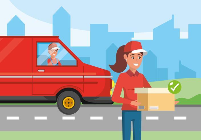 Donna di consegna con furgone di consegna vettore