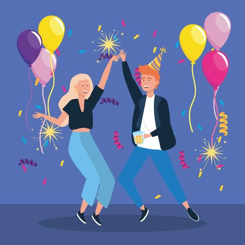 Uomo e donna che balla con palloncini e coriandoli vettore