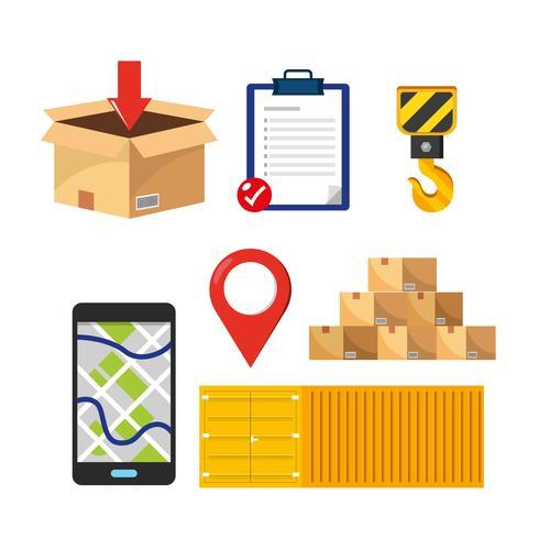 Insieme di elementi di consegna e spedizione online vettore