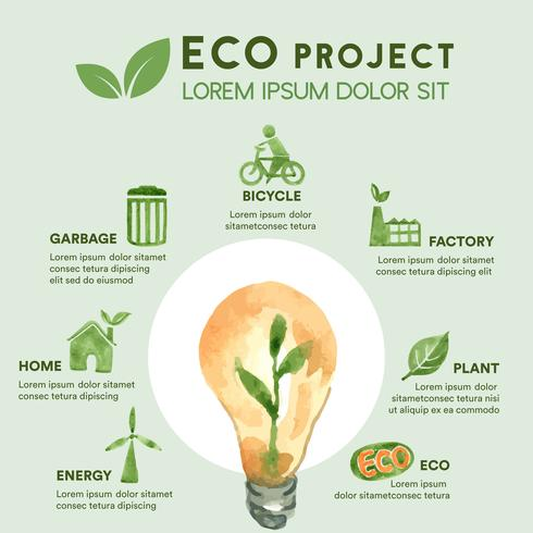 Eco Project Global Warming and Pollution Infographic vettore
