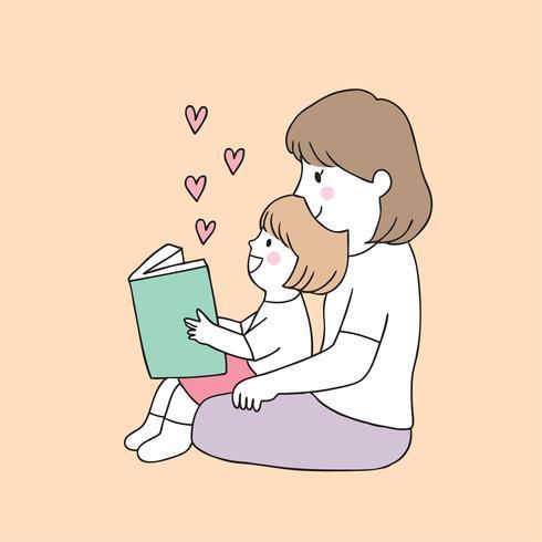 libro di lettura della figlia e della madre vettore