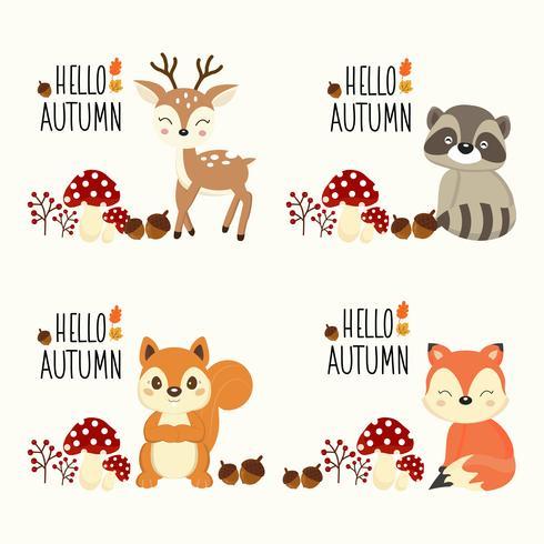ciao autunno set di animali del bosco vettore