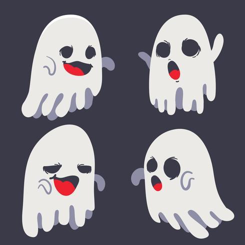 fantasma spettrale set di emozioni di halloween vettore