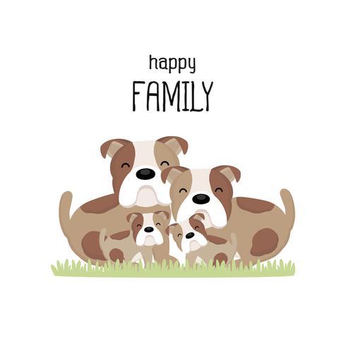 Felice simpatico cartone animato famiglia bulldog. vettore