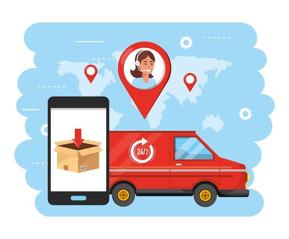 Furgone con smartphone e agente di call center vettore
