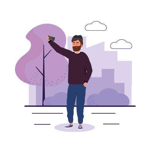 Uomo con la barba che prende selfie vettore