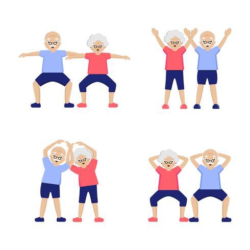 Anziani delle coppie che fanno gli esercizi messi vettore
