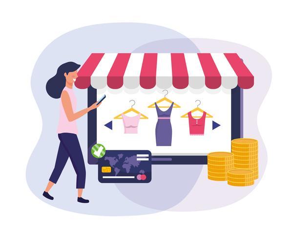 Donna con lo smartphone con acquisto online della compressa e carta di credito vettore