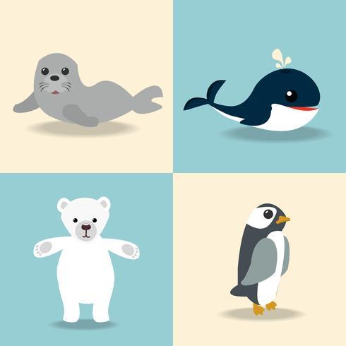 Simpatico set di orso polare e balena vettore