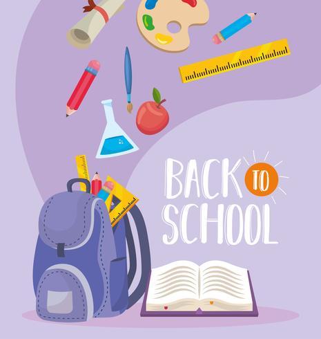 Messaggio di ritorno a scuola con zaino e accessori vettore