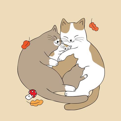 genitori abbracciano baby cat vettore