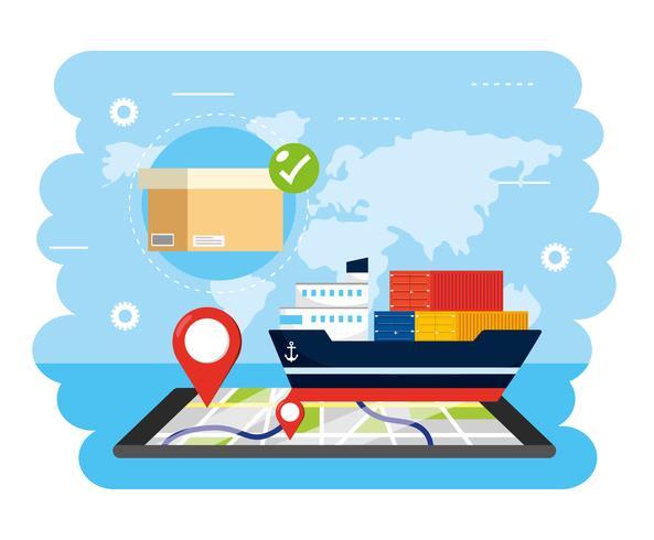 Servizio di consegna della nave con tracciamento pacchi e smartphone vettore