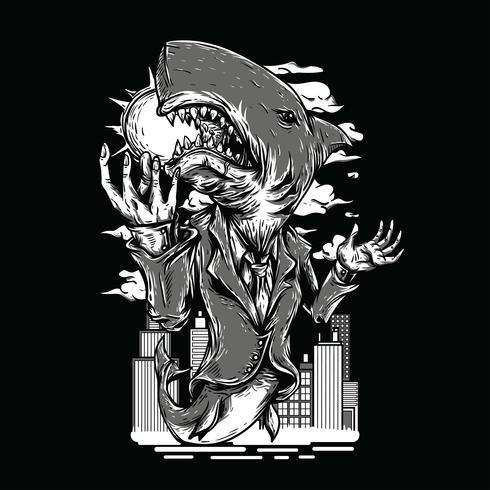 Progettazione della maglietta dell'illustrazione in bianco e nero dello squalo vettore
